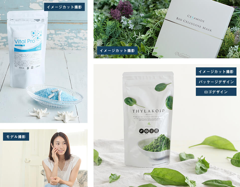 イメージ撮影 モデル撮影 パッケージデザイン 同梱物 折込・DM ロゴ その他販促物